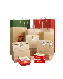 Flat handle kraft take away fast food paper bag